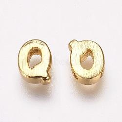 Breloques en laiton, véritable 18k plaqué or, letter.q, 6x4.5x2mm, Trou: 1mm(KK-P081-Q)