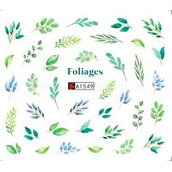 décalques d'art de transfert de l'eau de nail art, pour les décorations d'ongles, feuille de monstera / feuille tropicale / feuille de palmier, coloré, 6.125x5.3 cm(MRMJ-Q080-A1549)