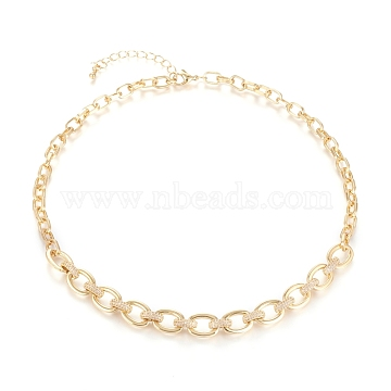 Brass Cable Chains Necklaces, with Clear Cubic Zirconia and Lobster Claw Clasps, Textured, Long-Lasting Plated, Golden, 16.93 inches(43cm)(NJEW-I235-04G)