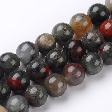 Natural African Bloodstone Beads Strands, Heliotrope Stone Beads, Round, 8mm, Hole: 1mm, about 46~48pcs/strand, 15.74 inches(X-G-L383-06-8mm)