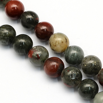 Natural African Bloodstone Beads Strands, Heliotrope Stone Beads, Round, 10.5mm, Hole: 1.2mm; about 36pcs/strand, 15.7 inches(G-S184-10mm)