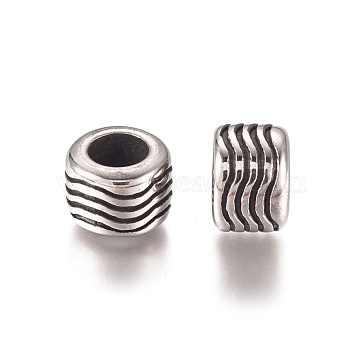 304 Stainless Steel European Beads, Large Hole Beads, Rondelle, Antique Silver, 9.2x6.8mm, Hole: 5mm(X-STAS-D175-03AS)