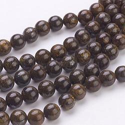 """Chapelets de perles en bronzite naturel, rond, coconutbrown, taille: environ 8mm de diamètre, Trou: 1mm, 52 pcs / chapelet, 15.7""""(G-Q605-25)"""
