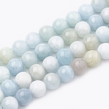 Natural Aquamarine Beads Strands, Round, 10mm, Hole: 1mm; about 40pcs/strand, 15.7inches(G-S333-10mm-003)