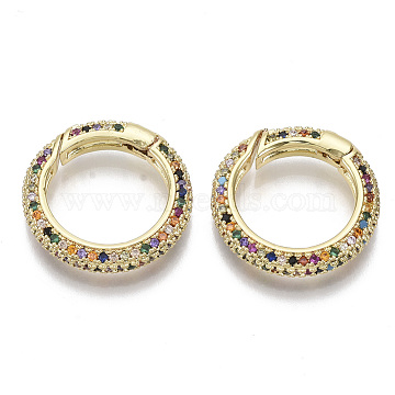 Brass Micro Pave Cubic Zirconia Spring Gate Rings, Nickel Free, Ring, Colorful, Real 16K Gold Plated, 21x4mm, Inner Diameter: 15mm(ZIRC-S066-027-NF)