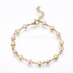 """Bracelets avec chaîne de lien en 304 acier inoxydable, avec l'émail et le homard fermoirs pince, coeur avec le mauvais œil, rose, 7-1/4"""" (18.5 cm)(BJEW-P236-30G-04)"""