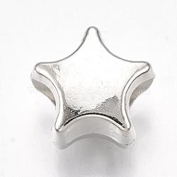 Perles européennes en plastique CCB, Perles avec un grand trou   , étoiles, platine, 10x10.5x7mm, Trou: 4mm(X-CCB-S161-03P)