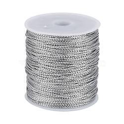 Jewelry Braided Thread Metallic Cords, Silver, 1mm, 109.36yards/roll(100m/roll)(MCOR-JP0001-02)