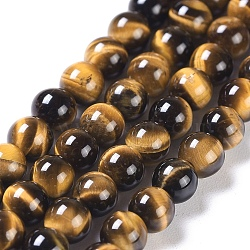 Natural Tiger Eye Round Bead Strands, Grade A+, 4mm, Hole: 1mm; about 98pcs/strand, 15.5inches