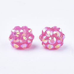 AB-Color Resin Rhinestone Beads, with Acrylic Round Beads Inside, for Bubblegum Jewelry, Magenta, 10mm, Hole: 2~2.5mm(RESI-S315-8x10-09)