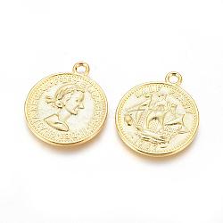 Pendentifs de style tibétain , sans plomb et sans nickel, pièce de monnaie, dorée, 23x19x1mm, Trou: 1.5mm(TIBEP-A19776-G-FF)