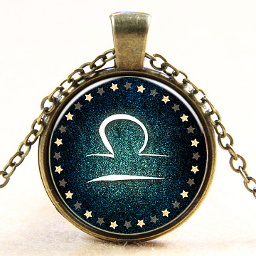 Libra Constellation/Zodiac Sign Flat Round Glass Pendant Necklaces, with Alloy Chains, Antique Bronze, 18 inches(NJEW-N0051-022G-01)