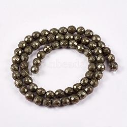 """Chapelets de perles rondes en pyrite naturelle, facette, 6mm, trou: 1mm; environ 65 pcs/chapelet, 15.74""""(G-L031-6mm-02)"""