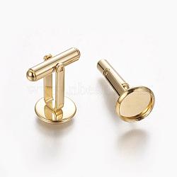 304 boutons de manchette en acier inoxydable, plat rond, or, plateau: 10 mm; 26.5x12 mm(STAS-E471-03C-G)