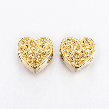Vacuum Plating 304 Stainless Steel European Beads Rhinestone Settings, Heart, Golden, 10.5x11.5x10mm, Hole: 5mm, Fit for 1mm Rhinestone(X-STAS-H367-34G)