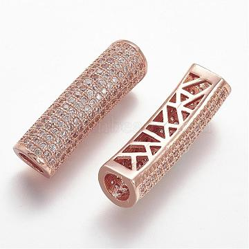 30mm Clear Tube Brass+Cubic Zirconia Tube Beads