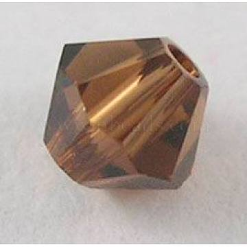 Austrian Crystal Beads, 5301 3mm, Bicone, Smoked Topaz, Size: about 3mm long, 3mm wide, Hole: 0.8mm(X-5301-3mm220)