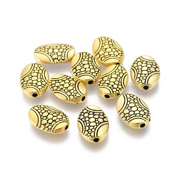 Alloy Beads, Bumpy, Oval, Antique Golden, 14x10x3mm, Hole: 1.5mm(PALLOY-O095-04AG)