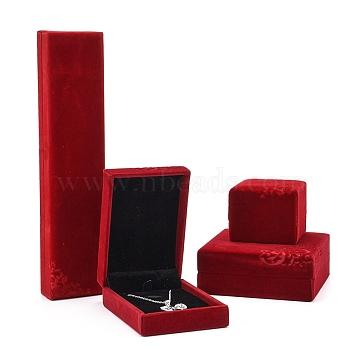 Velvet Jewelry Set Boxes, Bracelets, Necklaces and Ring Gift Boxes, Flower Pattern, Red, 10.1x10x4.3cm; 10.1x7.1x3.6cm; 6x6x5cm; 22.8x5.1x2.9cm(VBOX-D006-01)