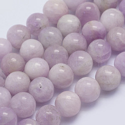 Natural Kunzite Beads Strands, Spodumene Beads, Round, Grade A-, 8~8.5mm, Hole: 1mm; about 46pcs/strand, 15.7inches(40cm)(G-L478-13-8mm)