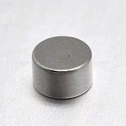 Column Magnet Beads, No Hole, Platinum, 5x3mm(FIND-I002-03)