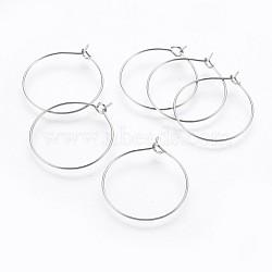 316 accessoires boucles d'oreilles créoles en acier inoxydable, Le verre de vin allie les découvertes, couleur inoxydable, 37~38x34.5~34.9x0.8mm(X-STAS-P221-01D-P)