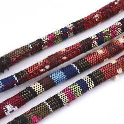 Cordes en tissu de style ethnique, avec cordon en coton à l'intérieur, colorées, 6.5~7x5 mm; environ 100 m / bundle(OCOR-S034-04)