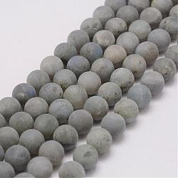 Natural Labradorite Beads Strands, Frosted, Round, 8mm, Hole: 1mm; about 48pcs/strand, 15.3inches(39cm)