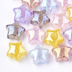 Perles en acrylique transparentes craquelées, demi-percés perles, étoiles, couleur mixte, 15x15.5x9.5mm, demi-trou: 3.5 mm(TACR-S148-03-M)