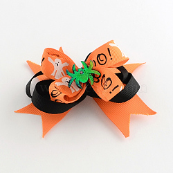 Halloween Grosgrain Bowknot Alligator Hair Clips, with Iron Clips and Spider, Platinum, DarkOrange, 80x95mm(PHAR-R165-14)