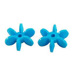 Perles de palette acryliques opaques de couleur unie, flocons étoiles, bleu foncé, 14x12x5mm, Trou: 2mm(X-SACR-S624-4)