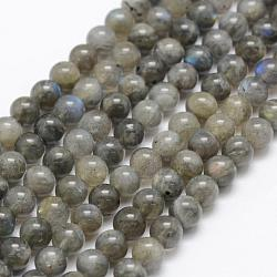 Natural Labradorite Beads Strands, Grade A+, Round, 6mm, Hole: 1mm; about 66pcs/strand, 15.3''(39cm)