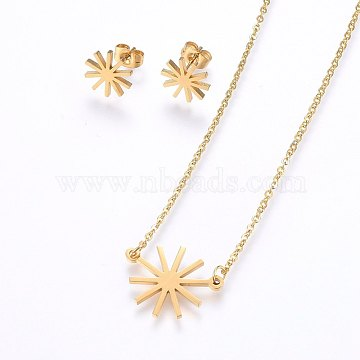 304 Stainless Steel Jewelry Sets, Stud Earrings and Pendant Necklaces, Flower, Golden, Necklace: 18.9 inches(48cm); Stud Earrings: 11x1.2mm; Pin: 0.8mm(SJEW-O090-22G)