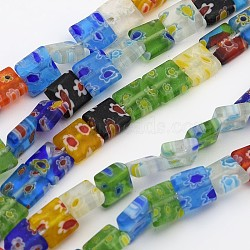 Handmade Millefiori Glass Beads Strands, Square, Mixed Color, 8mm wide, 8mm long, hole: 1mm, 50pcs/strand, 16 inches(X-LK37)