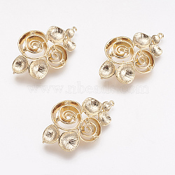 Supports de pendentif en laiton avec strass, véritable plaqué or, fleur, 35.5x22x7mm, trou: 1 mm; apte à 1 mm strass(KK-F731-59G)