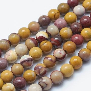 """Chapelets de perles en mookaite naturelles, rond, 8mm, trou: 2mm; environ 48 pcs/chapelet, 15.3""""(G-K287-07-8mm)"""