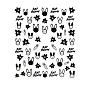 Nail Art Stickers Decals, Self Adhesive, DIY Nail Tips Decorations, Black, Rabbit Pattern, 90x77mm