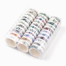Rubans adhésifs décoratifs pour bricolage, modèle de dessin animé mignon, avec boîte en pvc, couleur mixte, 15mm, 3 m / rouleau; 33 rouleaux / boîte(DIY-F017-A)