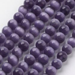 perles oeil de chat, arrondir, indigo, 6 mm, trou: 1 mm; environ 66 perle / brin, 15.5(X-CER57)