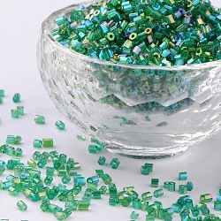 11/0 Two Cut Glass Seed Beads, Hexagon, Trans.Colours Rainbow, DarkGreen, Size: about 2.2mm in diameter, about 37500pcs/Pound(CSDB167B)