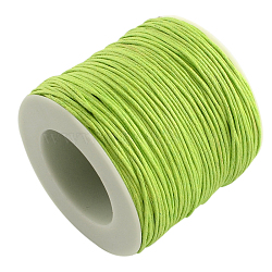 Waxed Cotton Thread Cords, GreenYellow, 1mm; about 100yards/roll(300 feet/roll)
