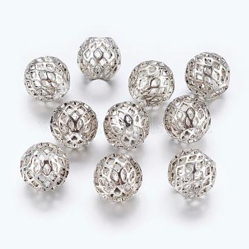 Antique Silver Tone Rondelle Hollow Brass Large Hole European Beads, 10x8mm, Hole: 4mm(X-KK-I440-AS)