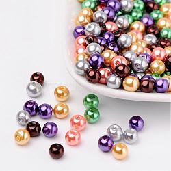 Halloween mix nacrées verre perles de nacre, couleur mixte, 6mm, trou: 1 mm; environ 200 PCs / sachet (HY-X006-6mm-07)