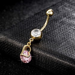 Piercing Jewelry, Environmental Brass Cubic Zirconia Navel Ring, Belly Rings, with Use Stainless Steel Findings, Heart, Pink, 37x8mm; Pin: 1.5mm(AJEW-EE0003-05B)