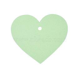 Carte de papier kraft vierge, nacré, carte de signet de bricolage, cœur, palegreen, 7x8x0.03 cm, trou: 0.5 cm(DIY-WH0143-07B-03)