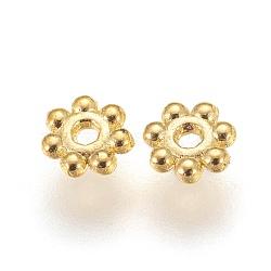 perles d'alliage de marguerite de fleur d'alliage, accessoires en métal pour bricolage, accessoires en métal pour fournitures de fabrication de bijoux, or, sans plomb et sans cadmium; 4x1.5 mm, trou: 1 mm; environ 140 pcs / 10 g(X-K08SK011)