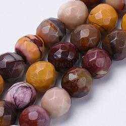 """Chapelets de perles en mookaite naturelles, facette, rond, 10mm, trou: 1.2mm; environ 37 pcs/chapelet, 15.3""""(G-S281-02-10mm)"""