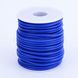 Tuyau creux corde en caoutchouc synthétique tubulaire pvc, enroulé aurond de plastique blanc bobine, bleu, 4mm, trou: 2 mm; environ 15 m / rouleau(RCOR-R007-4mm-13)