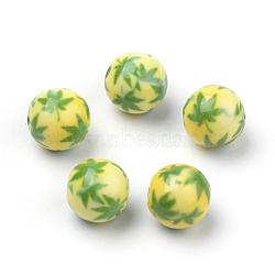 Perles acryliques imprimés opaques, rond avec motif cannabis / feuille de pot / feuille de chanvre, 'Chartreuse , 10x9.5mm, Trou: 2mm(X-MACR-S271-10mm-08)