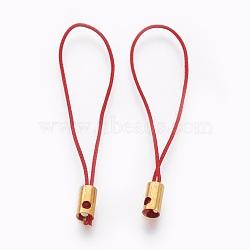 Нейлоновый шнур мобильные ремни, с фурнитурой латунной золотого тона, красные, 50x4 мм; отверстие: 1.8 мм(MOBA-F005-03G-01)